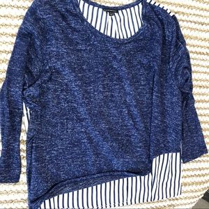 Lane Bryant Women blouse top blue striped Sz 22/24